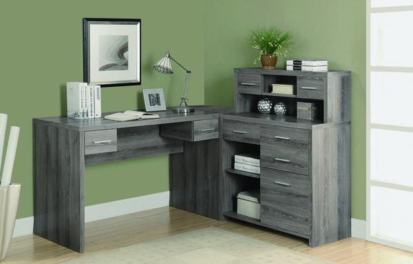 Modern L-Shaped Desk with Great Storage in Dark Taupe Reclaimed