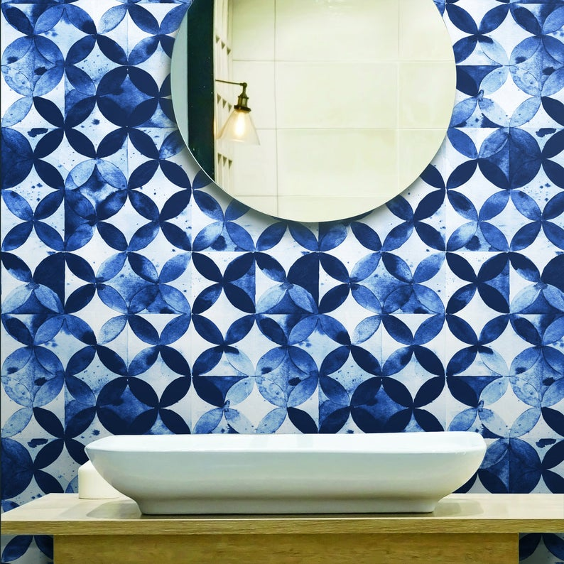 Paul Brent Blue And White Moroccan Tile Peel And Stick Wallpaper Rmk11354rl Peel And Stick Wallpaper Moroccan Tile White Moroccan Tile