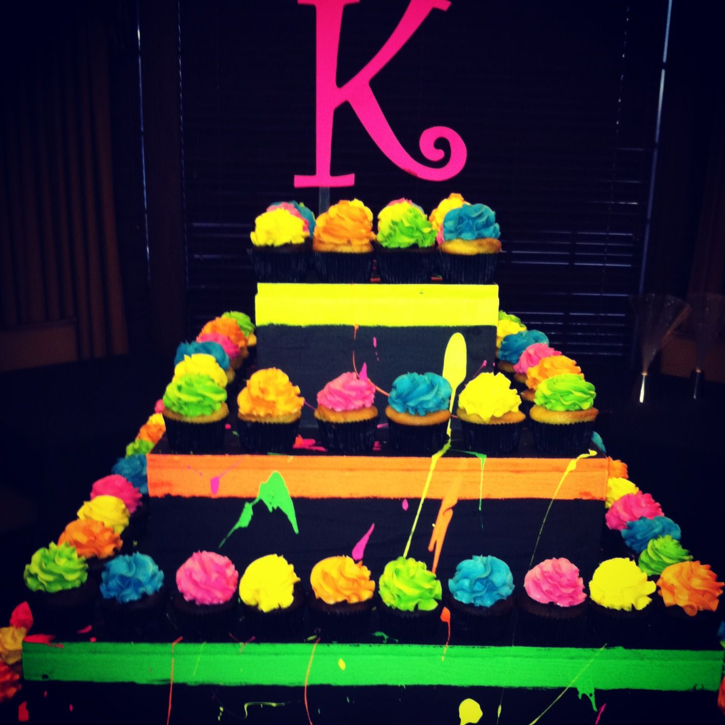 Neon Cup Cake Tower.  Blacklight party  Pinterest