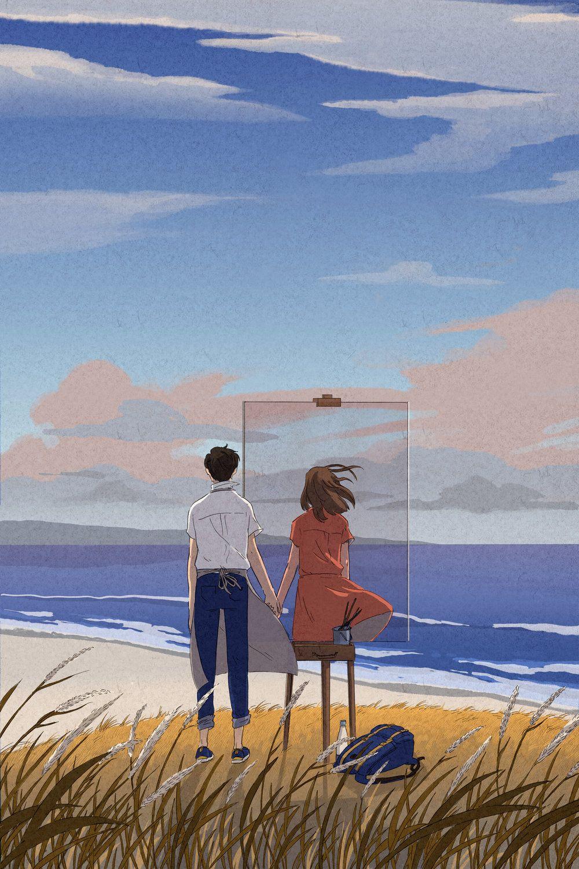 Seni Ilustrasi Seni Estetika Inspirasi Seni Anime couple aesthetic wallpaper