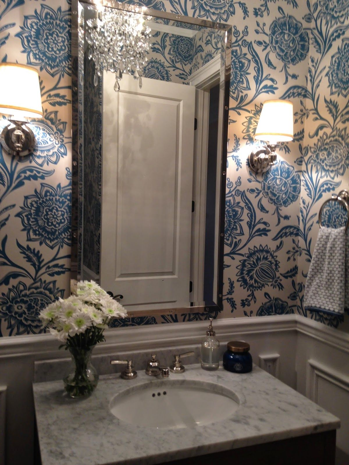 Thibaut Monterey Collection Rivera Blue On Flax Wallpaper