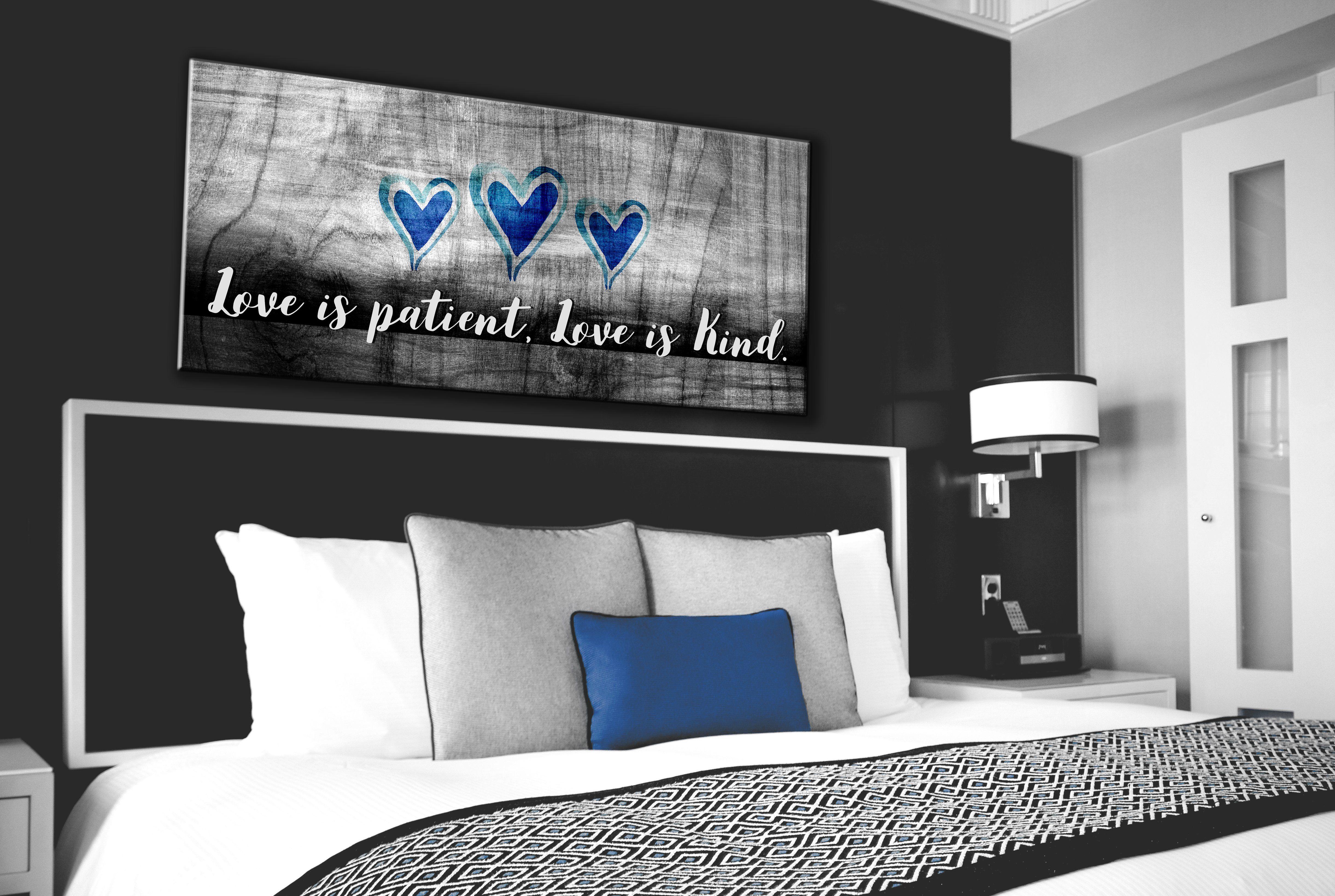 Bedroom wall art love is patient love is kind wood frame