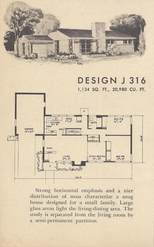 Vintage House Plans Mid Century Houses 1954 Homes