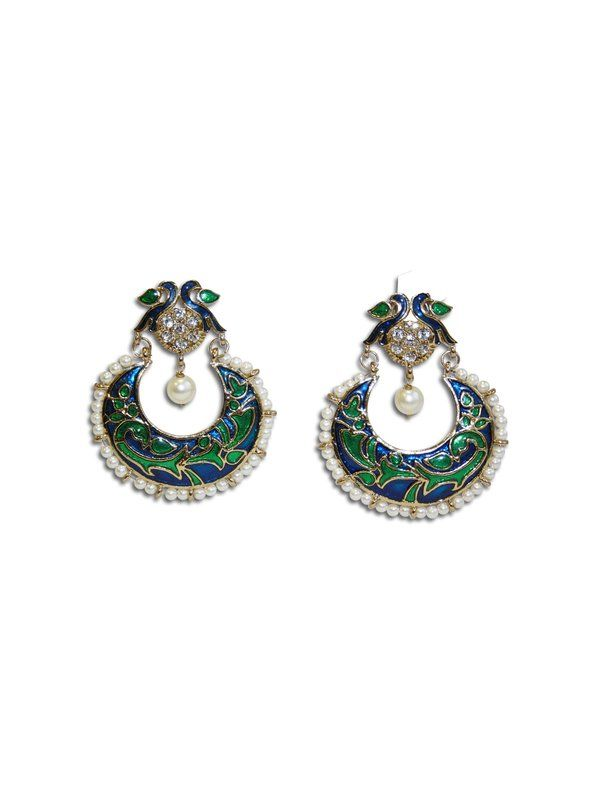 PEACOCK PEARL EARRINGS by designer Sobayha Accessories from sobayha.com. Stunning statement peacock earrings, with a pearl drop and mini-pearl edging. The vibrant peacock colours and encrusted diamonds make it a standout accessory. See more at: https://www.sobayha.com/catalogue/peacock-earrings_106/