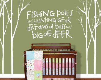 Hunting Fishing Deer Baby Pole Tree Decal Childrens Room Wall Decals Nursery Vinyl
