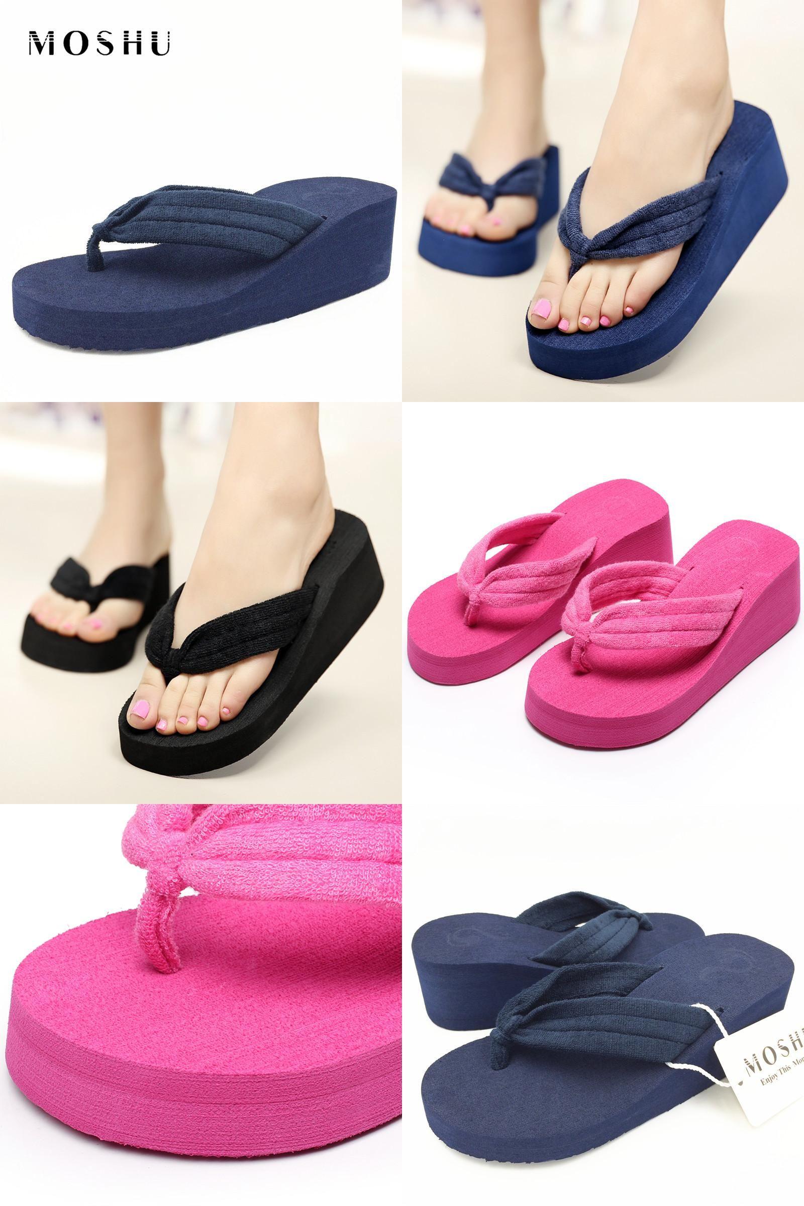 40136edc0ff [Visit to Buy] SIZE 42 Women Flip Flops Summer Wedges Platform Slippers  Beach Shoes Ladies Thick Heel Sandals Slides #Advertisement