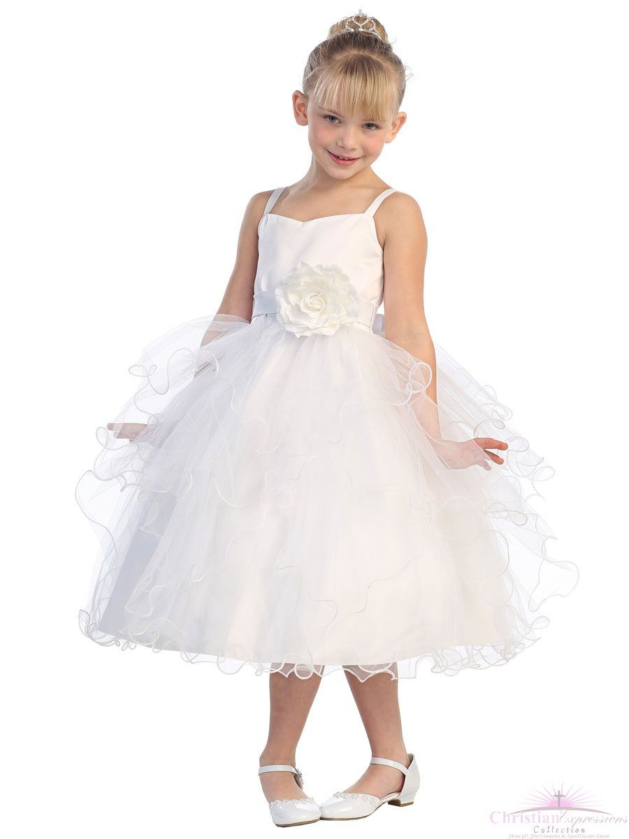 e66812011d1 Layered Tulle First Communion Dress with Big Flower Accent