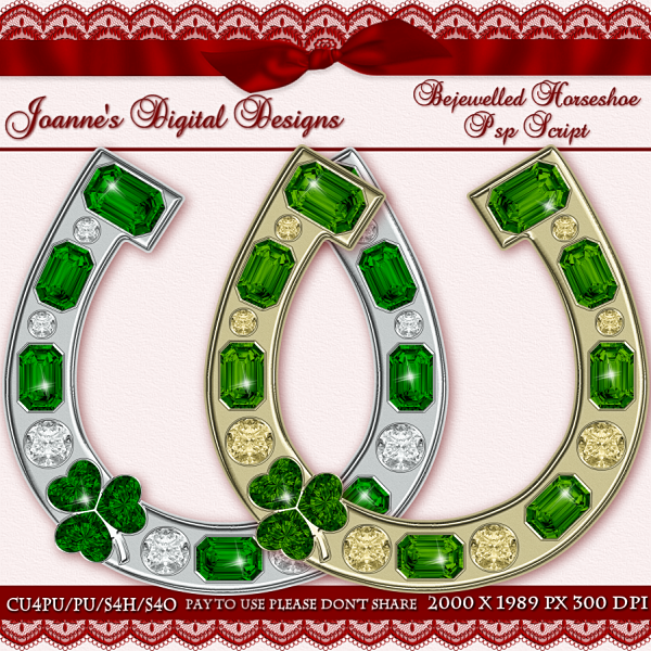 Bejewelled Horseshoe PspScript $6.00 - 60% off all this month! :) Also available as a Photoshop layered template Check out my new $50 Unlimited Useage License too! http://www.joannes-digital-designs.com/bejewelled-horseshoe-pspscript-p-2415.html