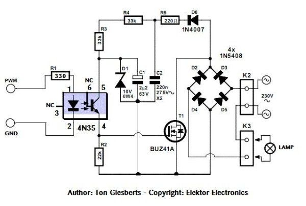 Safe and simple AC PWM Dimmer for arduino Raspberry pi Schematic ...