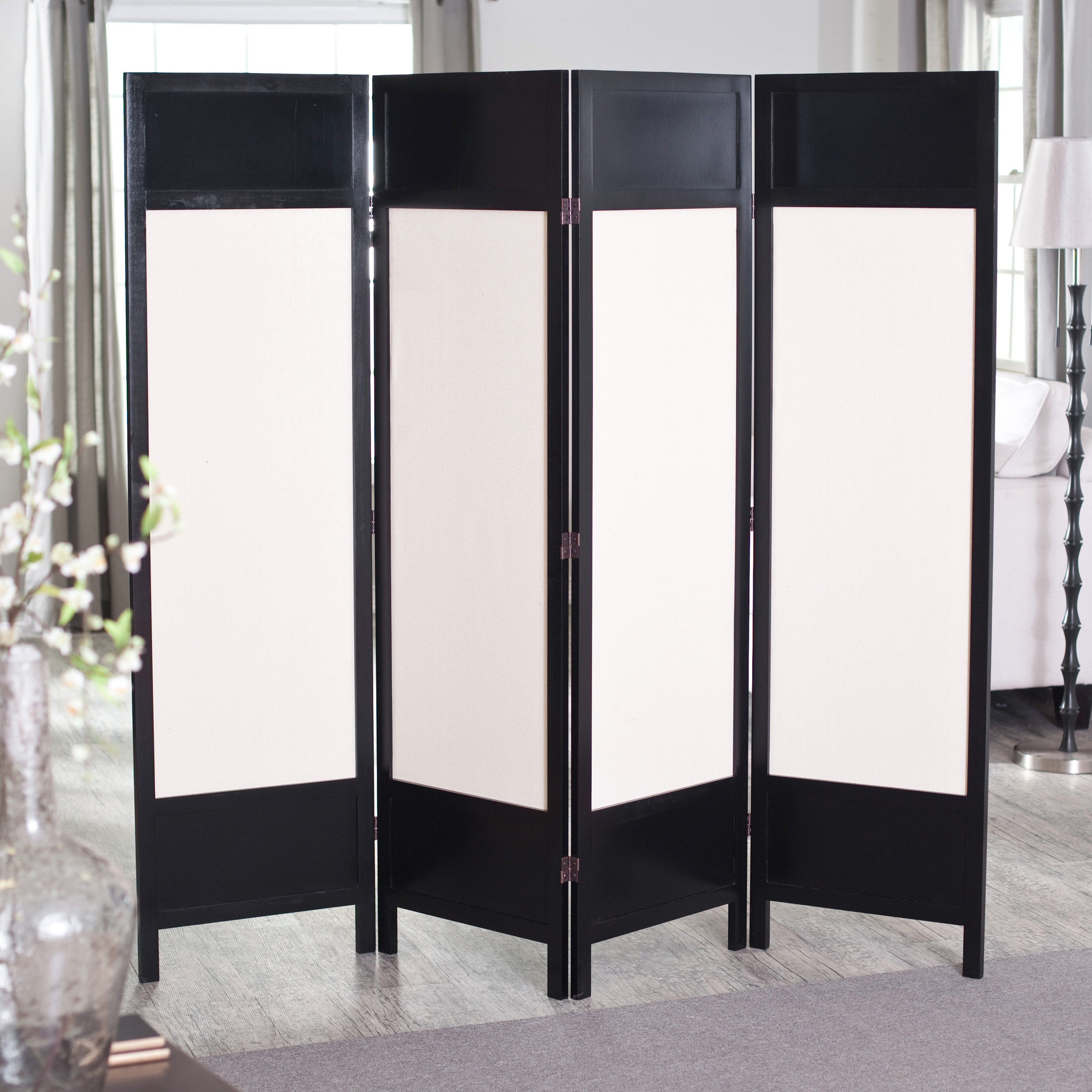 Griffin canvas panel room divider black home and decor