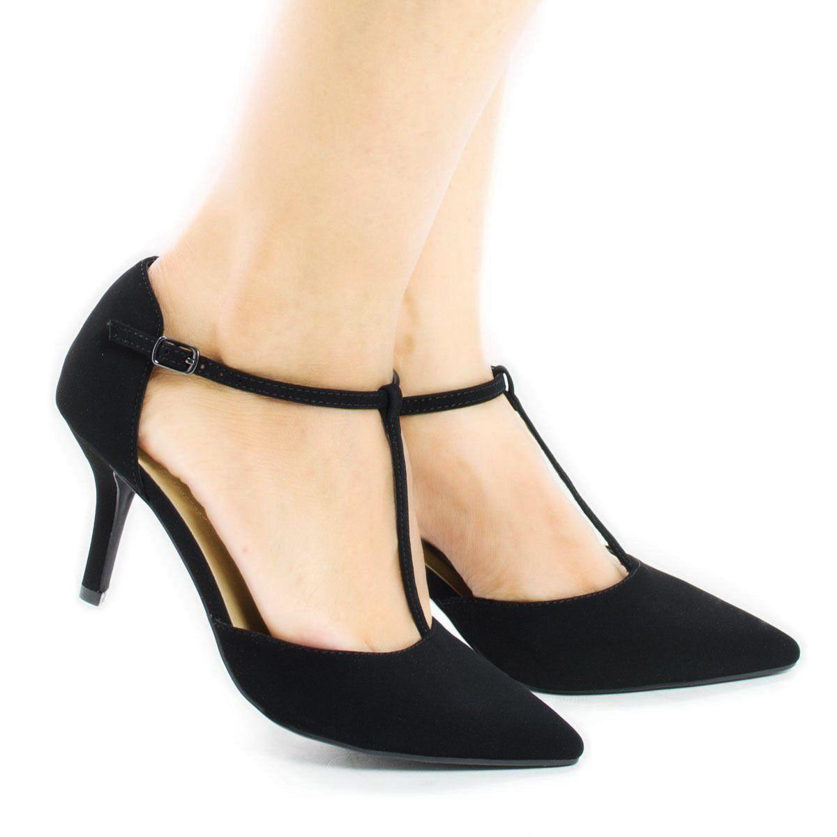 05cd9676eec88c City Classified Comfort Women s Pointy Toe T-Strap Mid Heel Pump ...