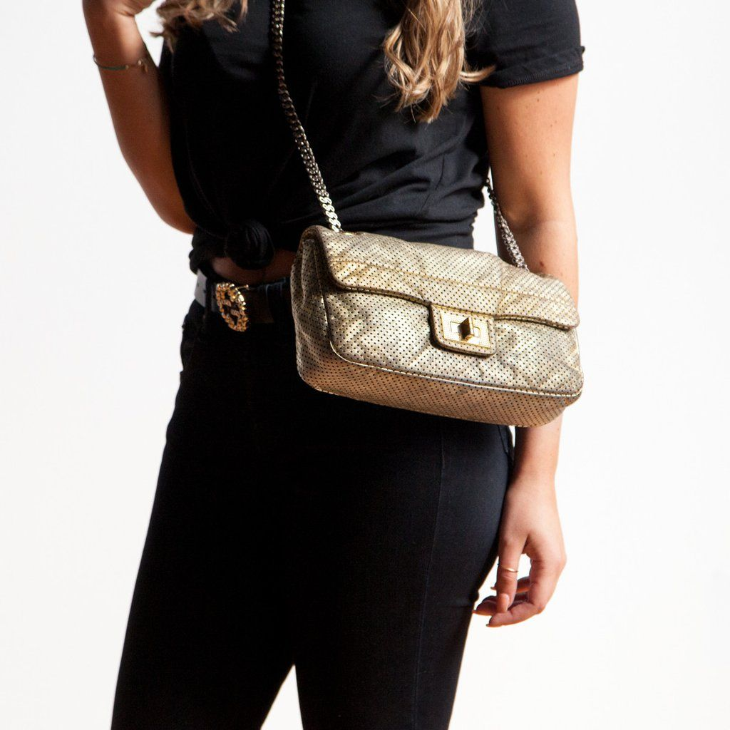 d8c7937d9e694e Chanel Gold Perforated Drill Flap Bag - Shop on for $1500 CAD -  lovethatbag.ca