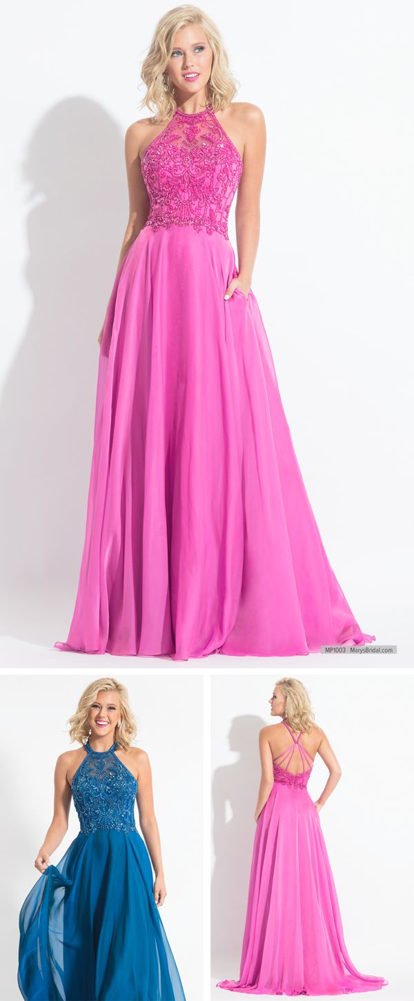 Mp chiffon prom gown features beaded halter top strappy back