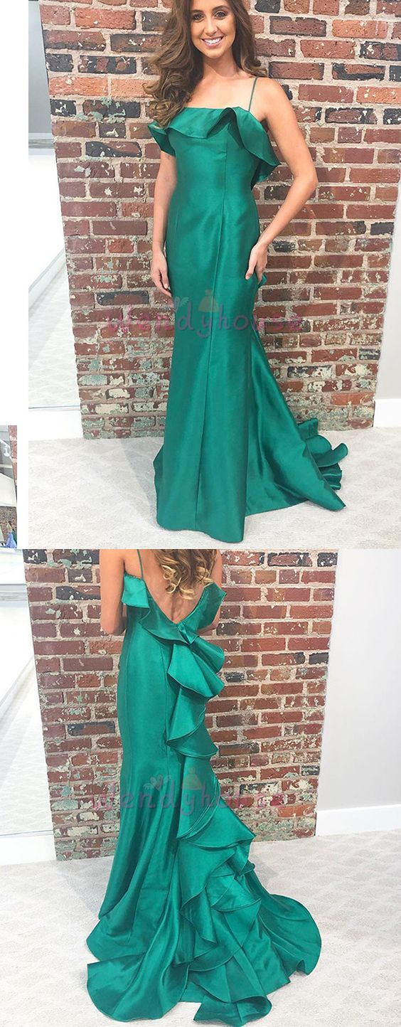 Cascading ruffle green v back long prom evening dress from