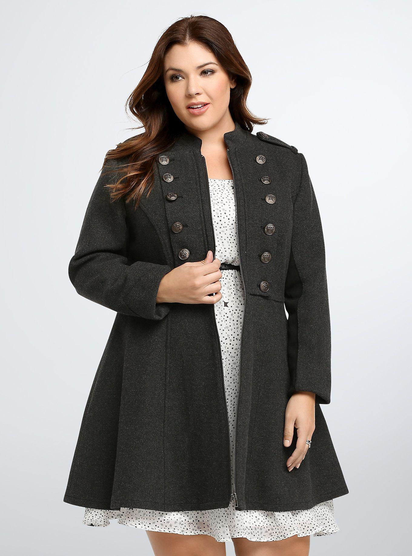 Long Military Coat | Outfits | Plus size coats, Coat, Plus size outfits