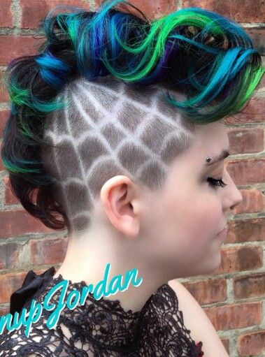 Web Shaved Sided Design Green Blue Dyed Mohawk Hairstyle