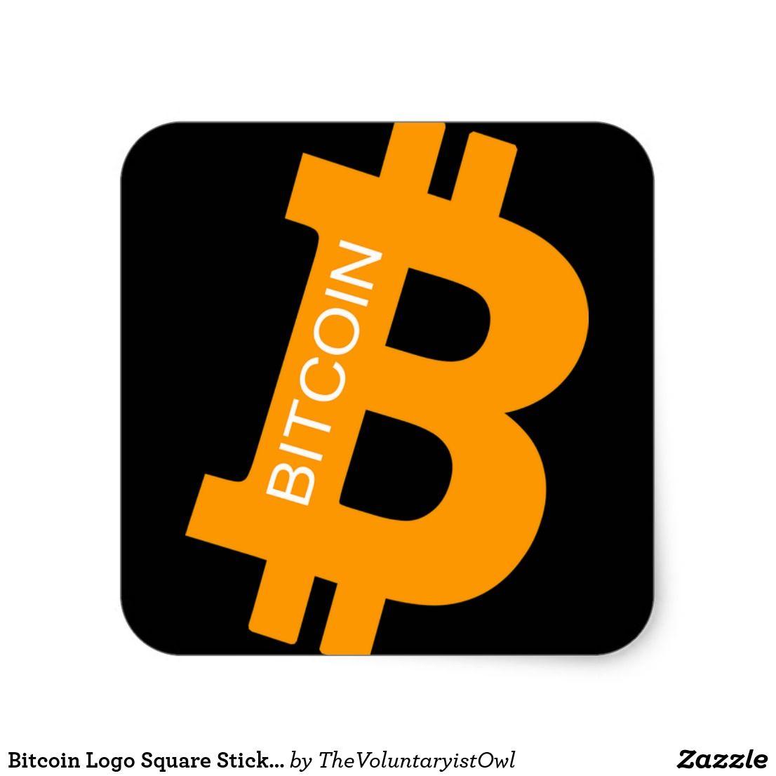 Bitcoin Logo Square Sticker | Zazzle.com | Bitcoin logo ...