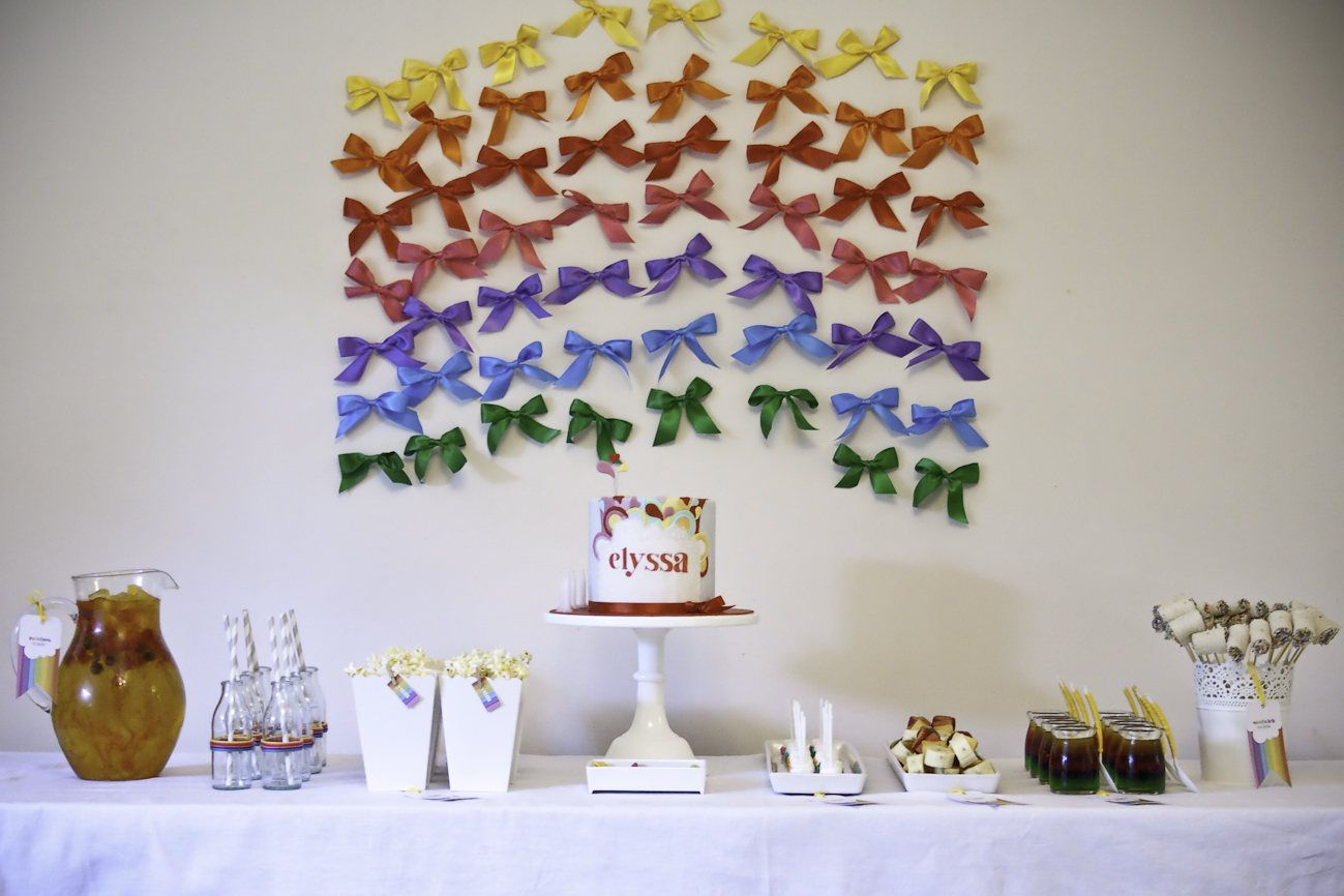 Gorgeous Rainbow Party   Mrs A in The Cove - love the bows!! x