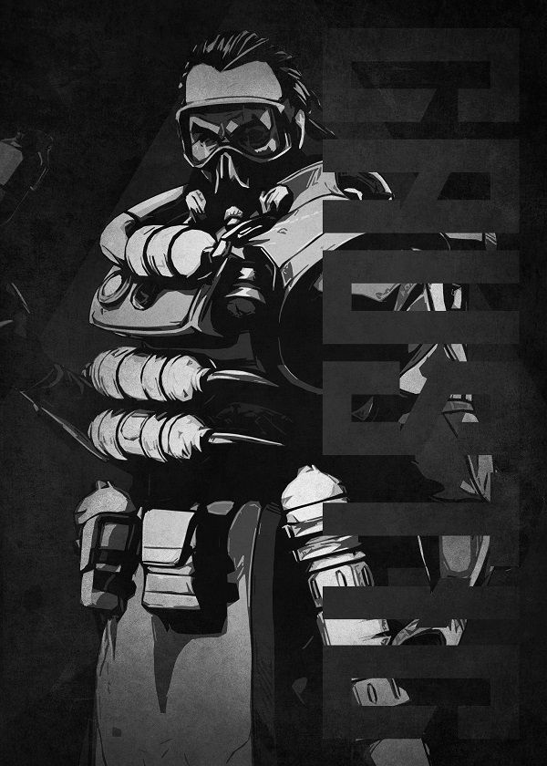 "Apex Legends Black & White Characters Caustic #Displate explore Pinterest""> #Displate artwork by artist… | Displate thumbnail"