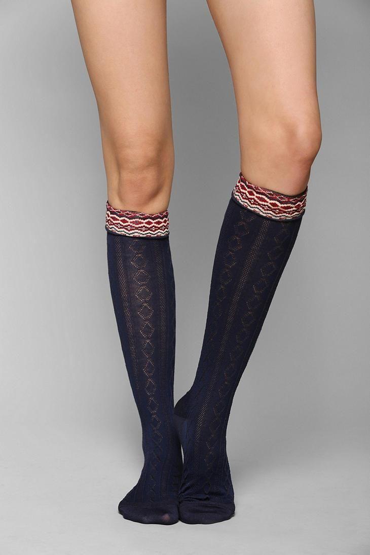 60d71d0f704 Fair Isle-Cuff Knee-High Sock  urbanoutfitters