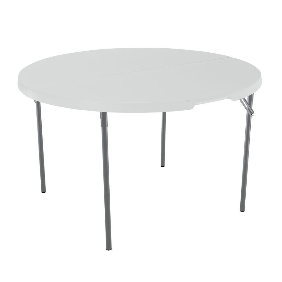 LIFETIME PRODUCTS 48-in x 48-in Circular Steel White Granite Folding Table