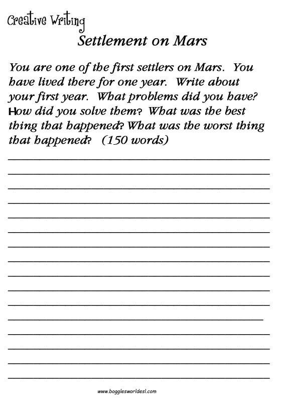 ESL Creative Writing Worksheets Creative Writing Worksheets, Writing  Prompts For Kids, Creative Writing Exercises