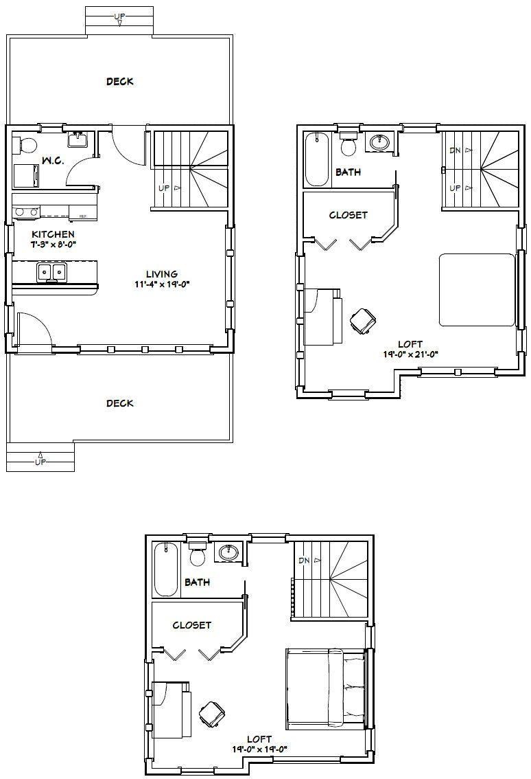 20x20 House 20X20H9D 1,108 sq ft Excellent Floor
