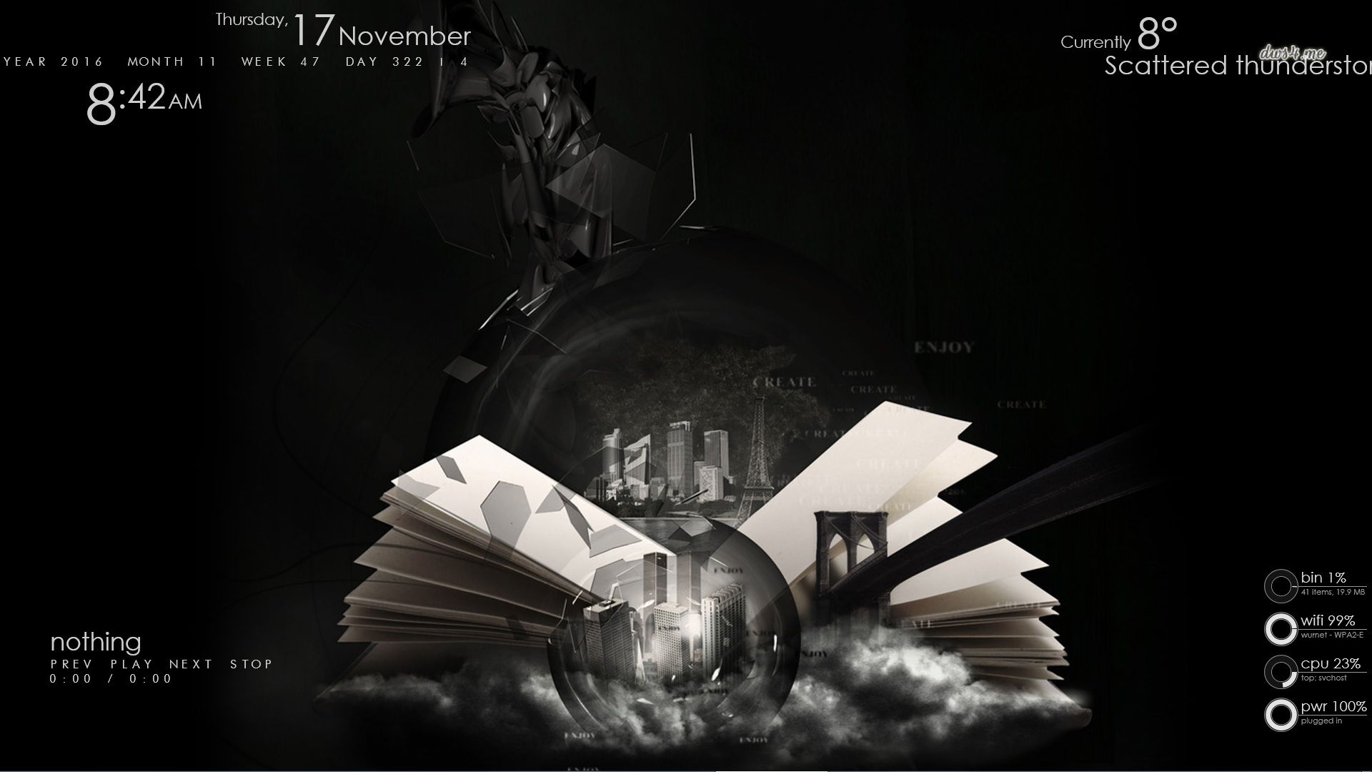 the World of the Book - My (CorryS) Rainmeter setup with the skins