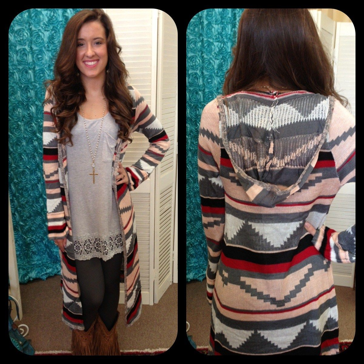 Grey Aztec Long Sweater