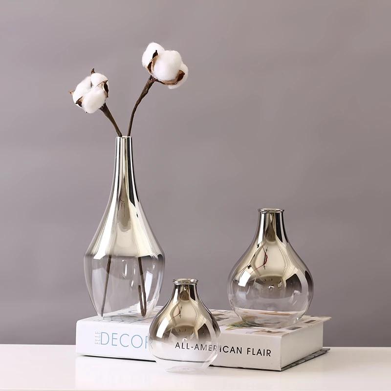 Modern Glass Vase Silvery Glass Terrarium Small Flower Vases Dry