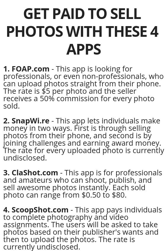 GET PAID TO SELL PHOTOS WITH THESE 4 APPS