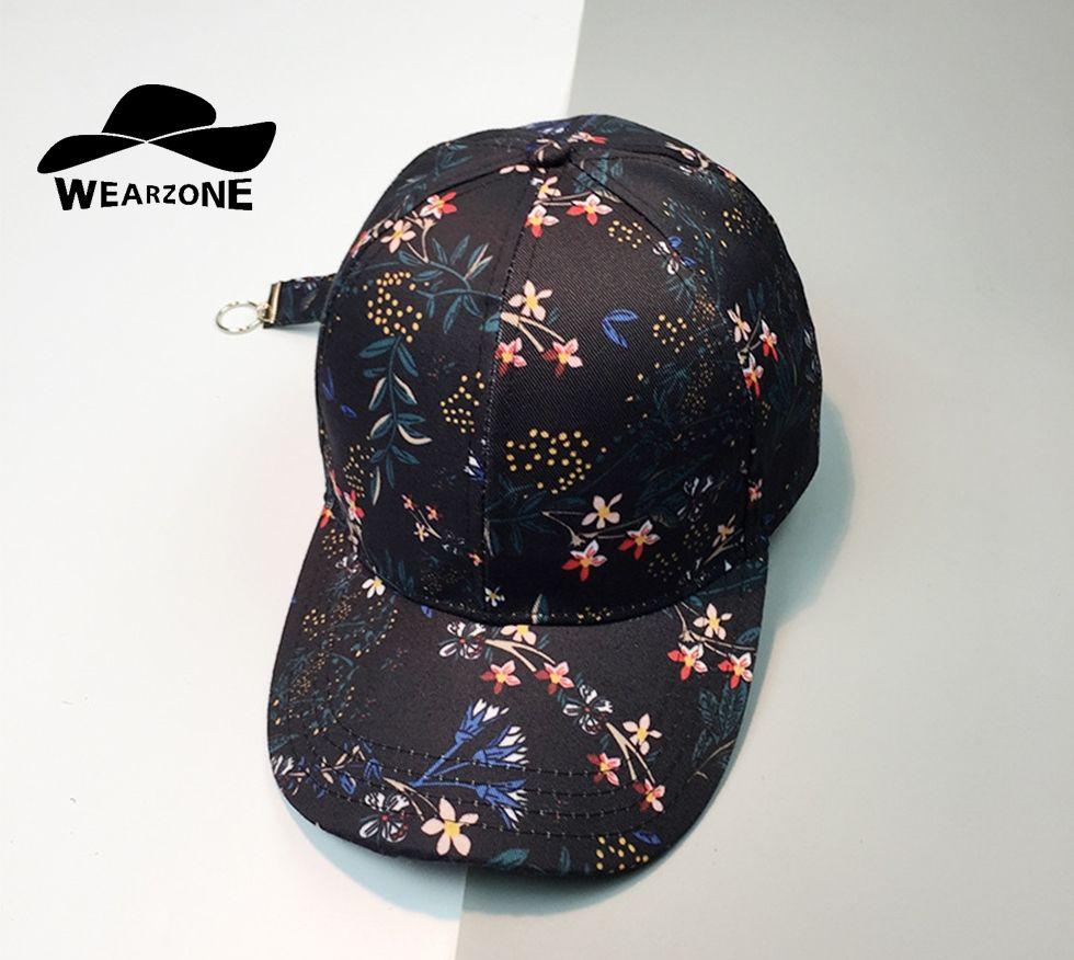 b7f096b0968 WEARZONE 2017 Men Baseball Cap Snapback Printing Flowers all-match Hip Hop  Hats Quality Cotton Caps Bone Women