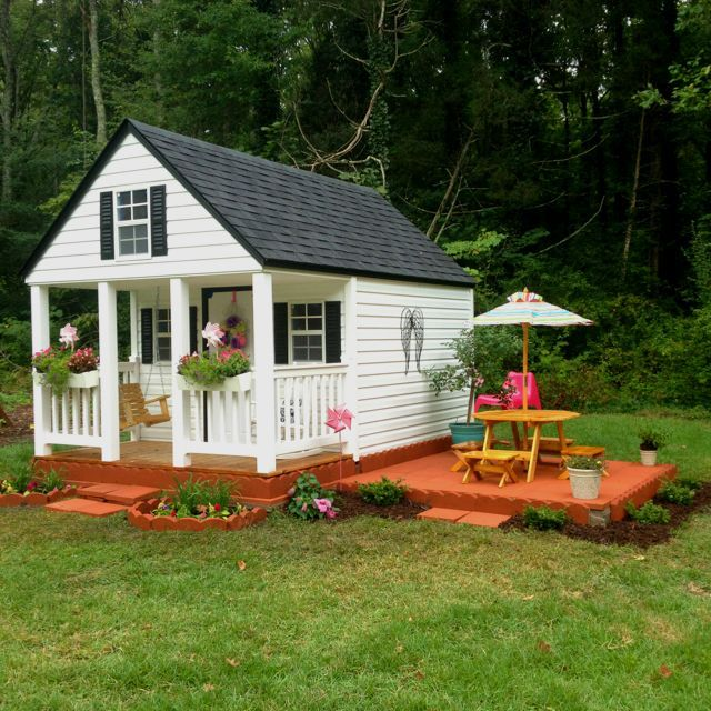 Patio Swing And Deck With Picnic Table, Girls Outdoor Playhouse