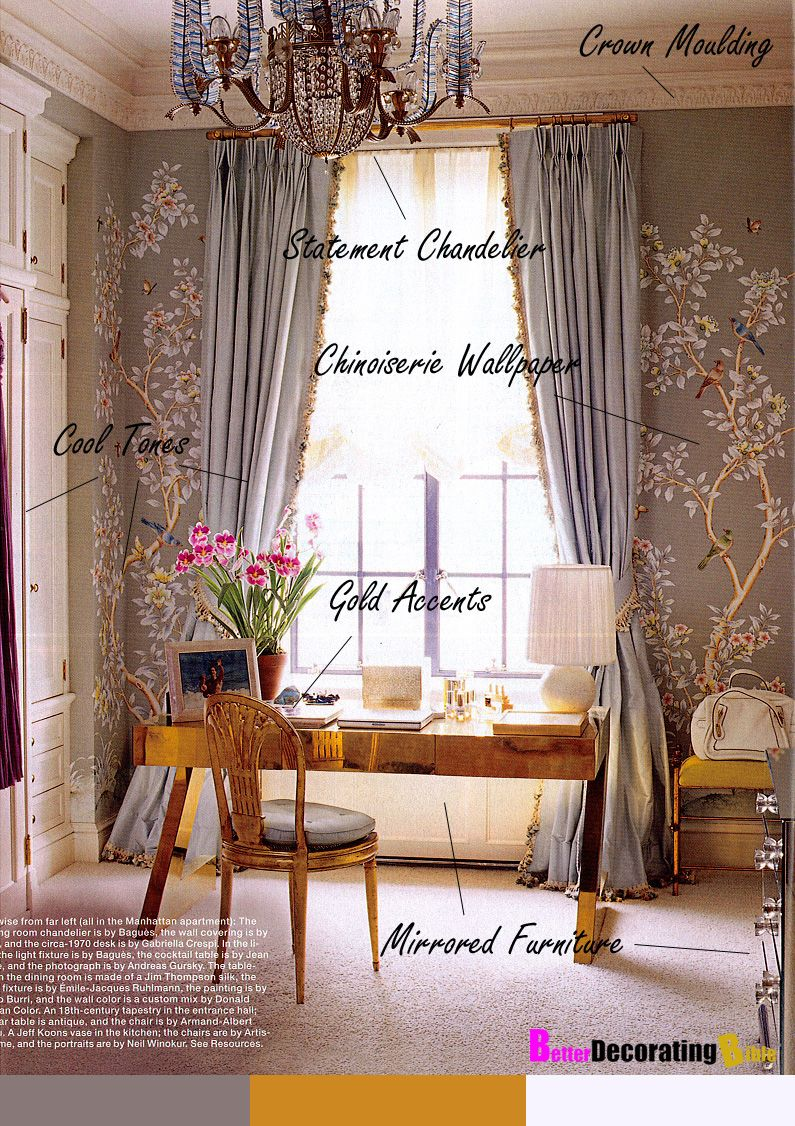 gold mirrored desk, chinoiserie wallpaper, chandelier Decor