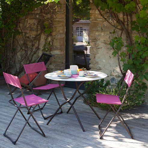 Chaise de jardin pliante en acier et toile Batyline (lot de 2) ANYTIME