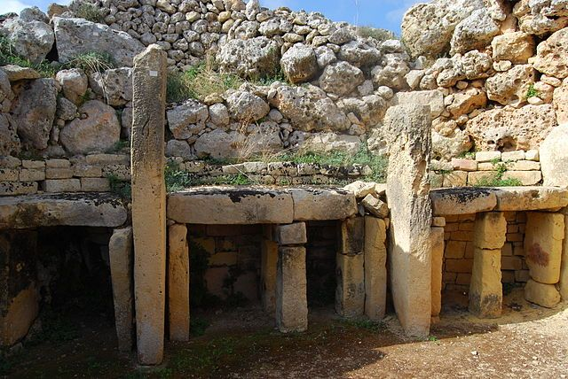 Megalithic temple of Ġgantija, on the island of Gozo, Malta. It was erected in the Neolithic and is a World Heritage Site, UNESCO