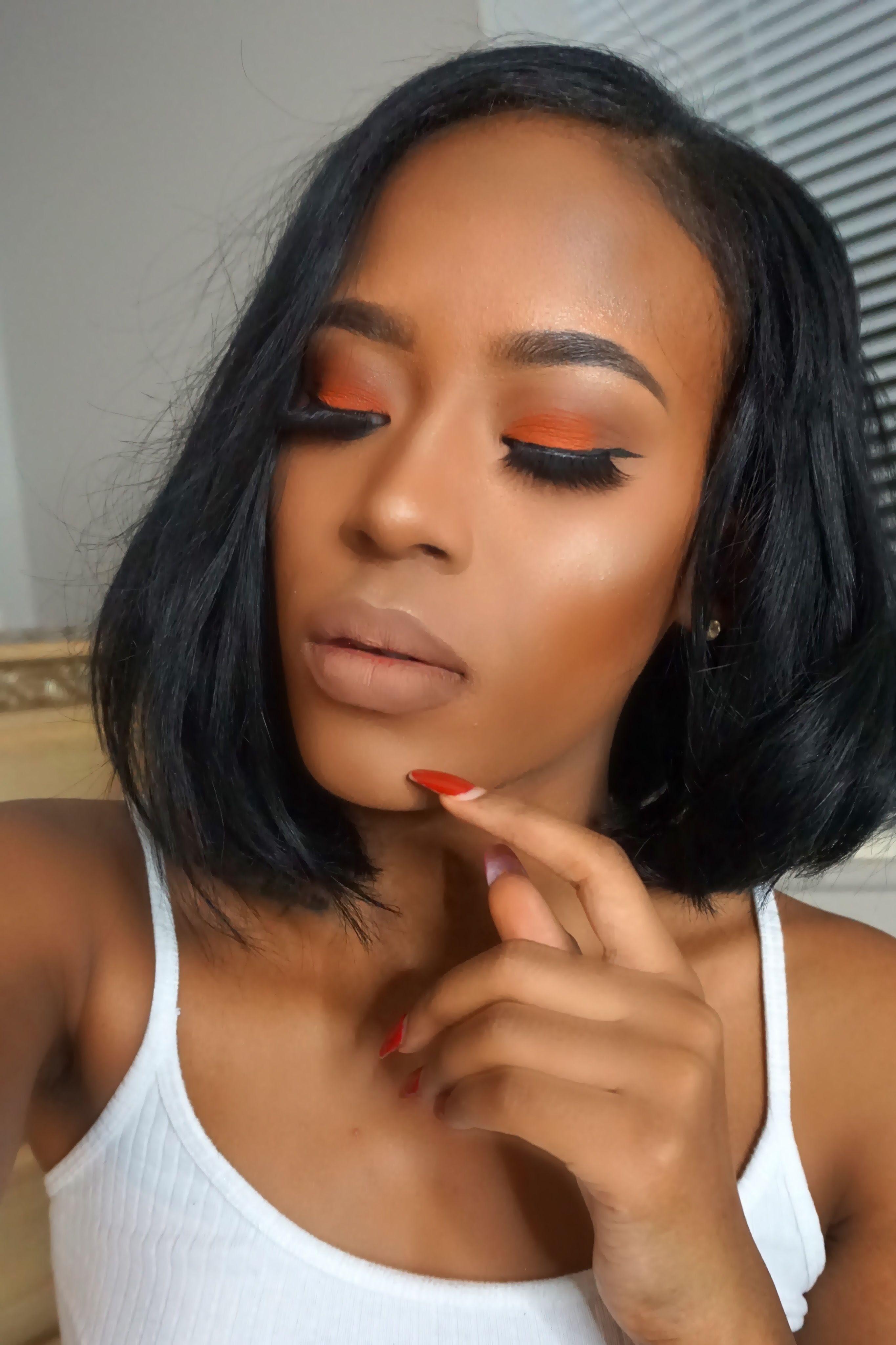 Orange Eyeshadow Tutorial Makeup for black women, Orange