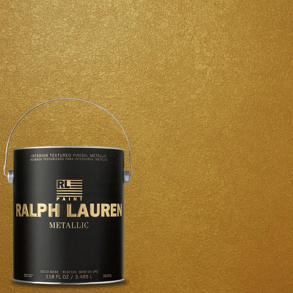 Ralph Lauren 1 Gal Parlor Gold Metallic Specialty Finish Interior Paint Me138 The Home Depot In 2020 Ralph Lauren Paint Accent Wall Paint Metallic Paint