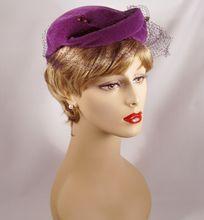 Vintage 1950s Hat Lavender Fur Felt Close or Casque Style by Miriam Lewis