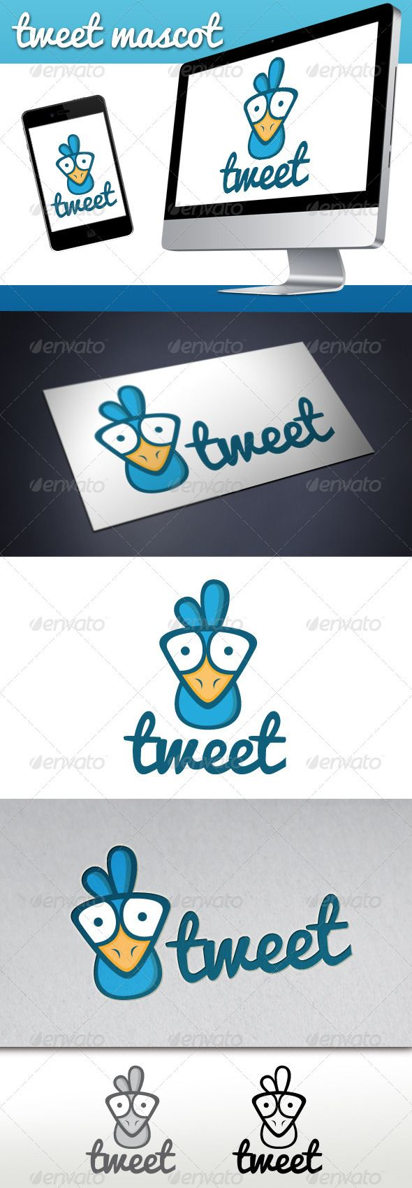 Tweet Bird Mascot Logo Logos Cartoon And Typography