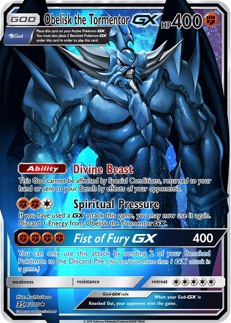 Obelisk The Tormentor Gx Pokemon Yu Gi Oh God Card Crossover