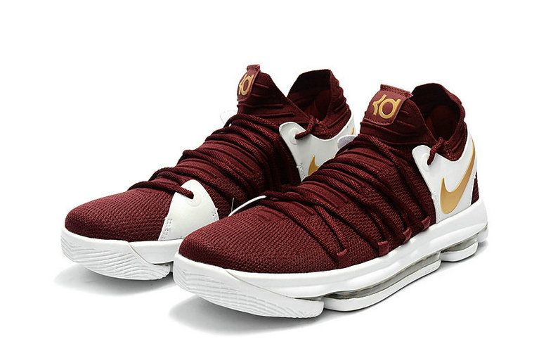 Where To Buy KD 10 X Burgundy Gold Wine CAVS Burgundy Mens Basketball Shoes  2018 Wholesale aa809d9d2