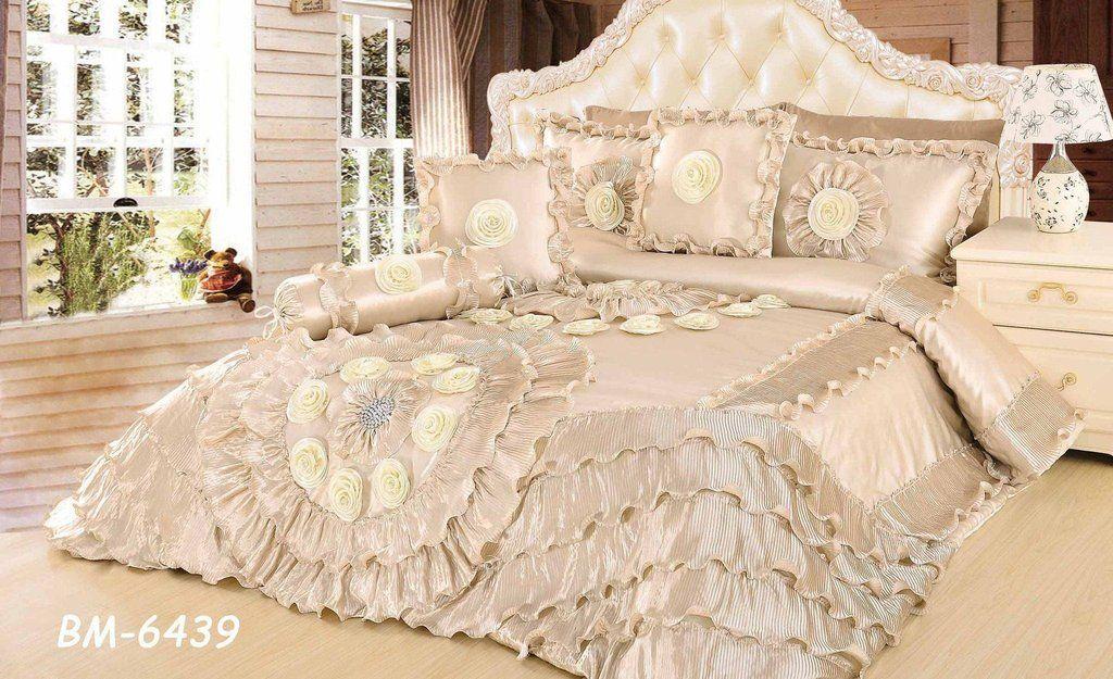 Tache 6 Piece Faux Sateen Royal Wedding Chamber In Cream Comforter