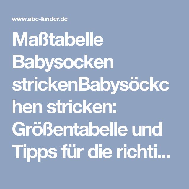 size 40 d250d b0635 Maßtabelle Babysocken strickenBabysöckchen stricken ...