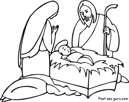 Christmas Jesus Birth Drawing.Pin On Coloring Christmas Winter
