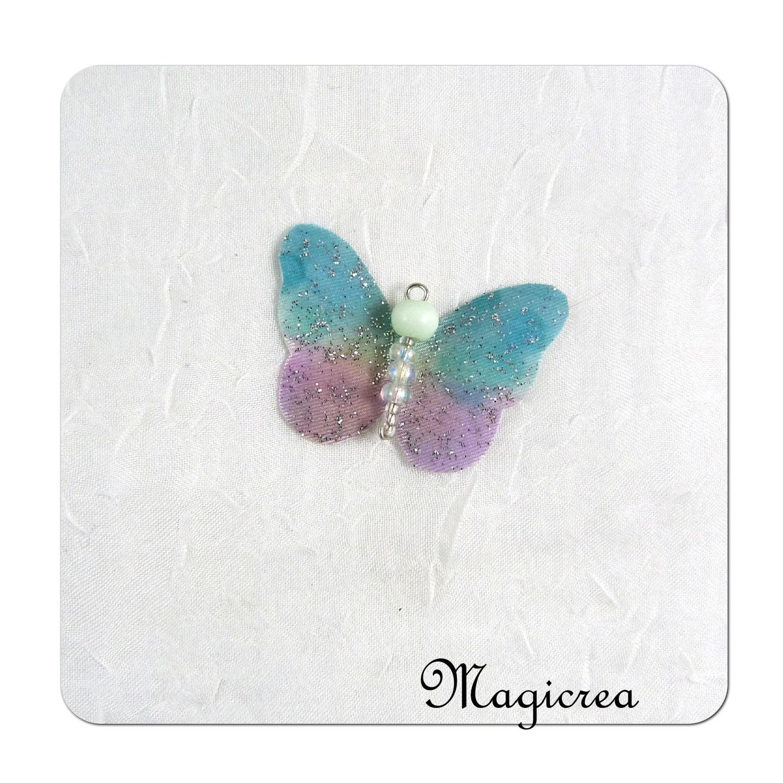 breloque papillon de soie turquoise et mauve