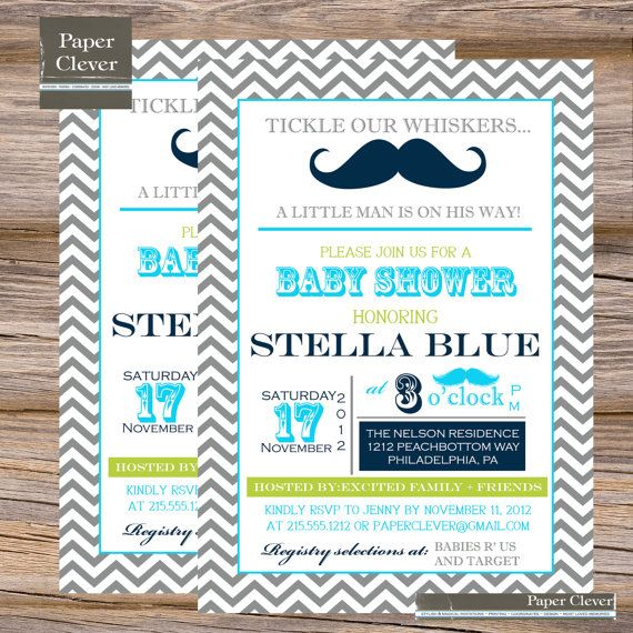 Baby Shower Mustache Theme: Mustache Theme Shower Invitation: Can Customize Colors