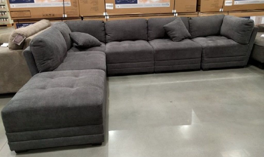 6 Piece Modular Fabric Sectional In Dark Gray Grey Sectional Sofa Grey Sectional Sectional Sofa