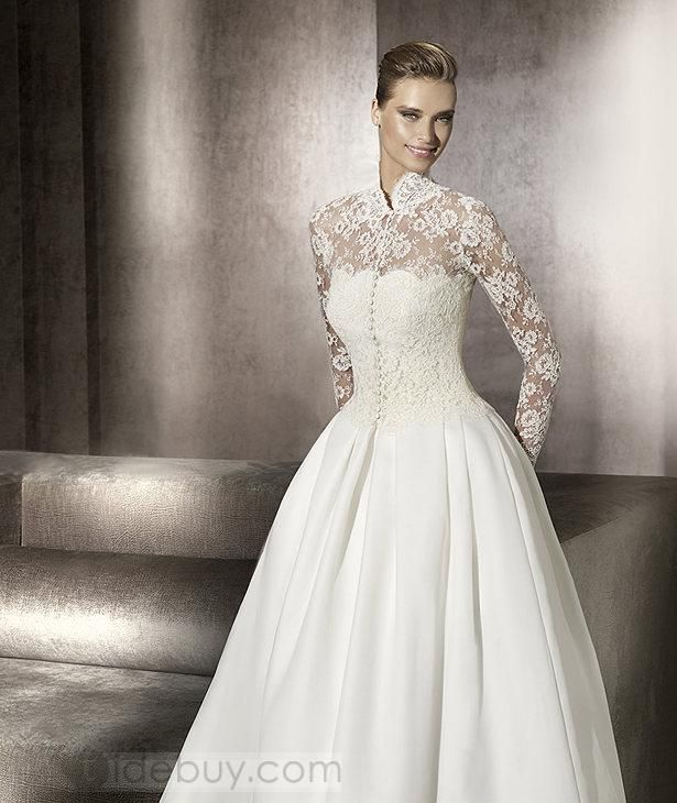 Gorgeous Ball Gown Floor-Length Sweep Wedding Dresses with Lace ...