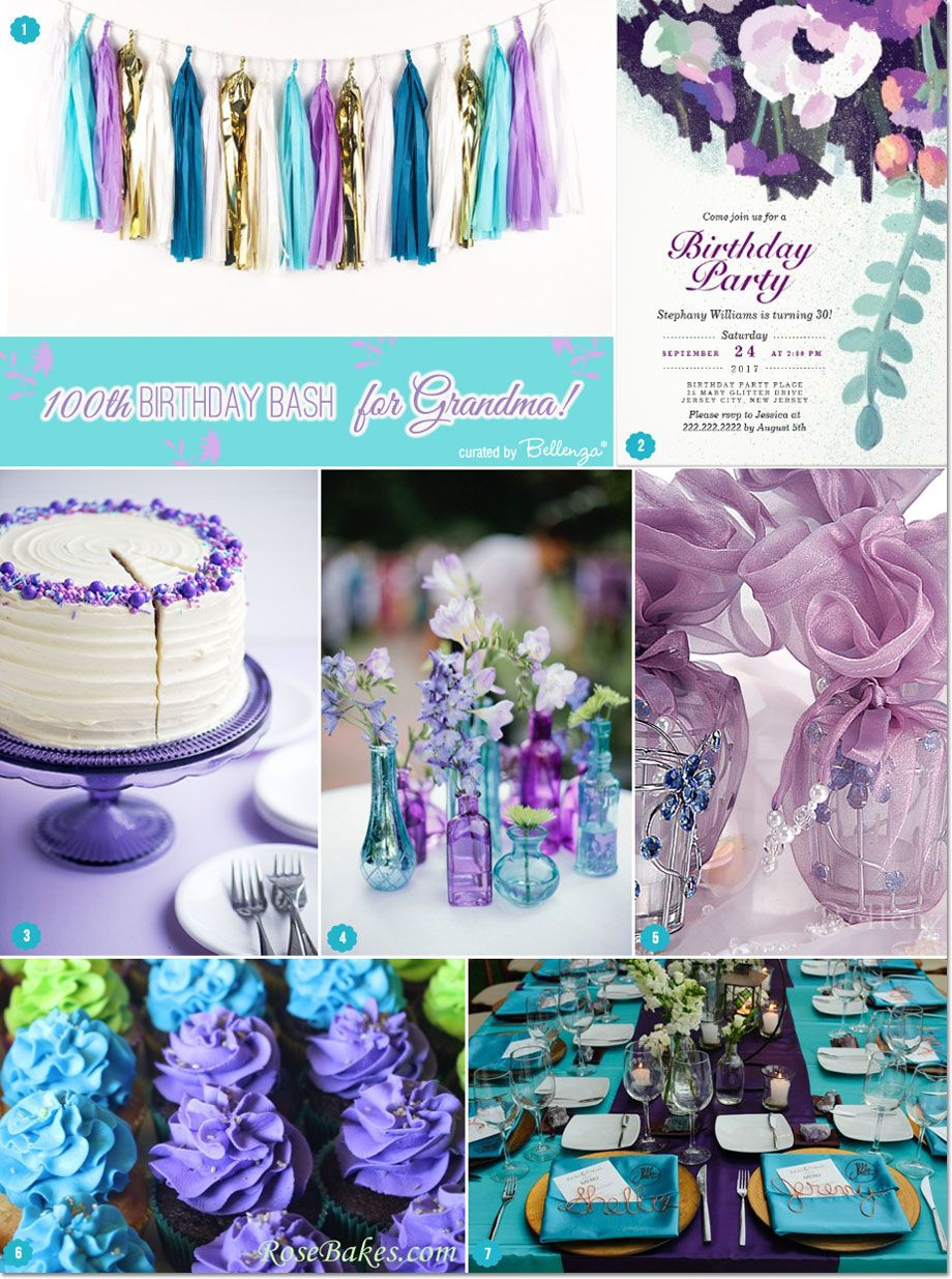 Grandmas 100th Birthday Bash Think Modern Florals With A Chic Color Palette Of Teal And Purple Touches Lime Green